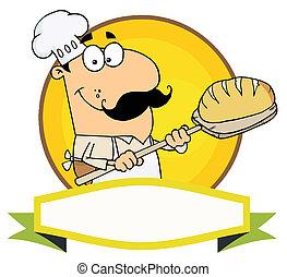 boulanger, caucasien, tenue, pain