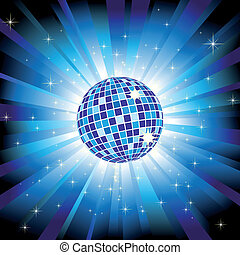 boule bleue, éclater, lumière, étincelant, disco, étoiles, scintillement
