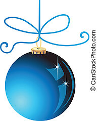 boule bleue, noël, vecteur, stockage