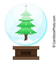 boule de neige, arbre, noël
