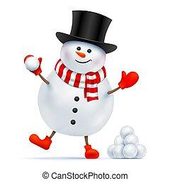 boule de neige, chapeau haut de forme, game., bonhomme de neige, jouer