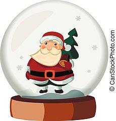 boule de neige, claus, dessin animé, santa
