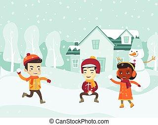 boule de neige, multiculturel, enfants, fight., jouer