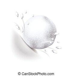 boule de neige, vecteur, blanc, isolé