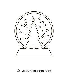 boule de neige, vecteur, icône