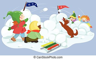 boule de neige, vecteur, illustration, baston