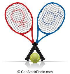 boule tennis, raquettes