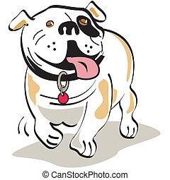 bouledogue, art graphique, chien, agrafe