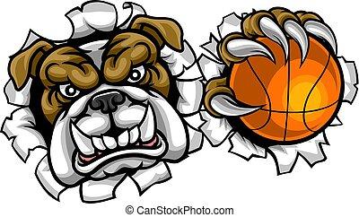 bouledogue, sports, basket-ball, mascotte