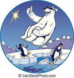 boulet canon, ours, dessin animé, plongeon, quoique, polaire, montre, pingouins
