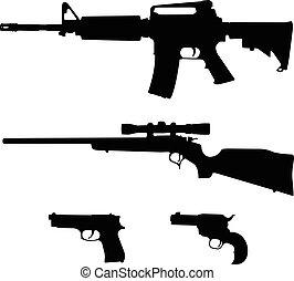 boulon, silhouette, vecteur, fusil, style, fusil, semi-automatique, pistolets, ar-15, action