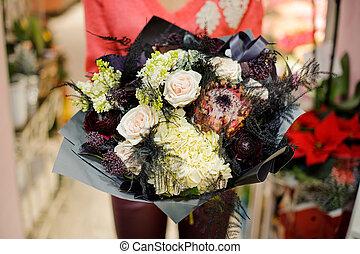 bouquet, élégant, fleurs, hiver, élégant