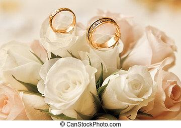 bouquet, anneaux, mariage