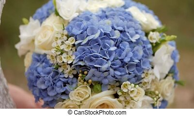 bouquet, bleu, nuptial, roses