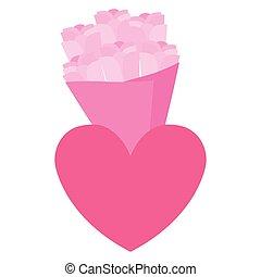 bouquet, coeur, valentines, amour, roses