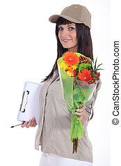 bouquet, femme, fleurs, livrer