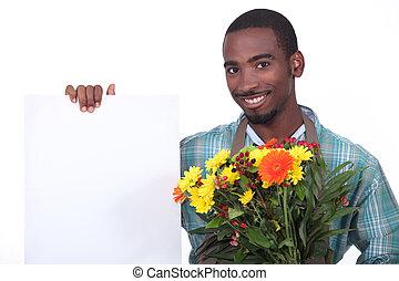 bouquet, fleuriste, fleurs, tenue