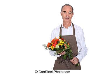 bouquet, fleurs, homme