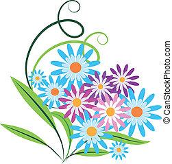 bouquet, fleurs ressort