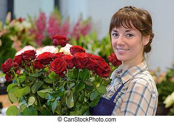 bouquet, fleurs, tenue