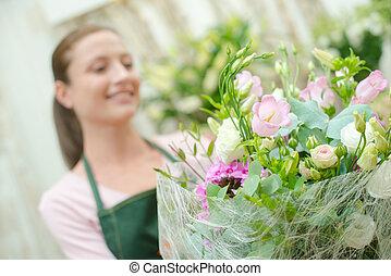 bouquet, fleurs, vendeur