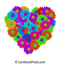 bouquet floral, forme, hart