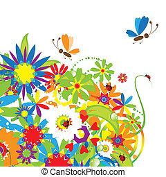 bouquet floral, illustration, été