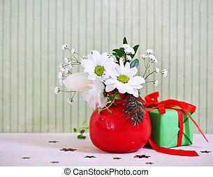 bouquet, hiver, fleurs