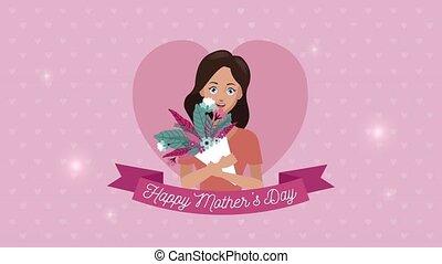 bouquet, lettrage, ruban, mères, fille, jour, heureux