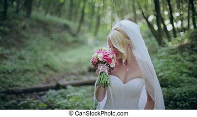 bouquet, mariée, bois