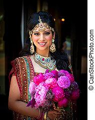 bouquet, mariée, sourire, indien