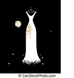 bouquet, mariage, floral, blanc, cintres, robe
