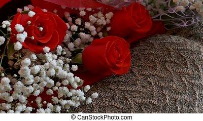 bouquet, mensonge, salle, roses, chaise, rouges