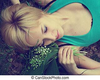 bouquet, o, girl, lis