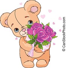 bouquet, ours peluche, donner