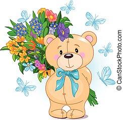 bouquet, ours peluche