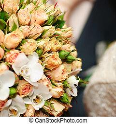 bouquet, peach-coloured, mariage
