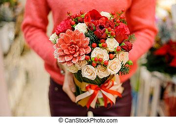 bouquet, peu, fleurs, hiver, joli