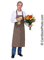 bouquet, pulvérisation, fleurs, fleuriste