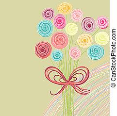 bouquet, résumé, fleurs