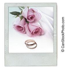 bouquet, rose, anneaux, mariage