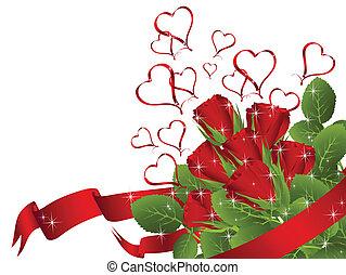 bouquet, rose rouge