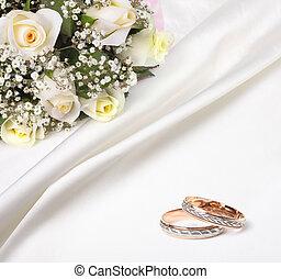 bouquet, roses, anneaux, mariage