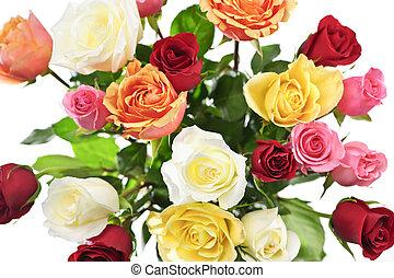 bouquet, roses, au-dessus