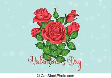 bouquet, roses, saint-valentin