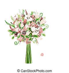 bouquet, stylique floral, ton, mariage