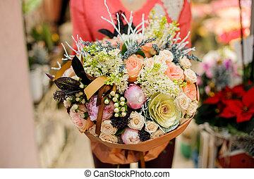 bouquet, tendre, fleurs, hiver, élégant
