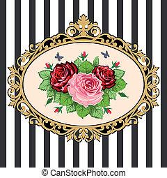 bouquet, vendange, cadre, rose