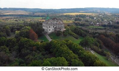 bourdon, aérien, castle., perspective, olesko