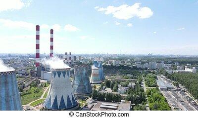 bourdon, aérien, tour, canaux transmission, station, haute vue, tension, paysage, industriel, fumée, thermique, puissance